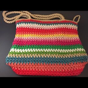 The Sak knit/ crochet rainbow colored purse